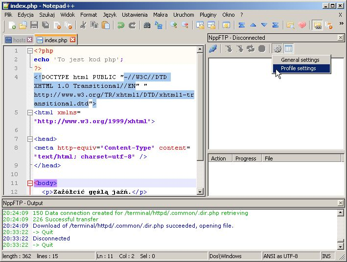 Klient FTP w Notepad++